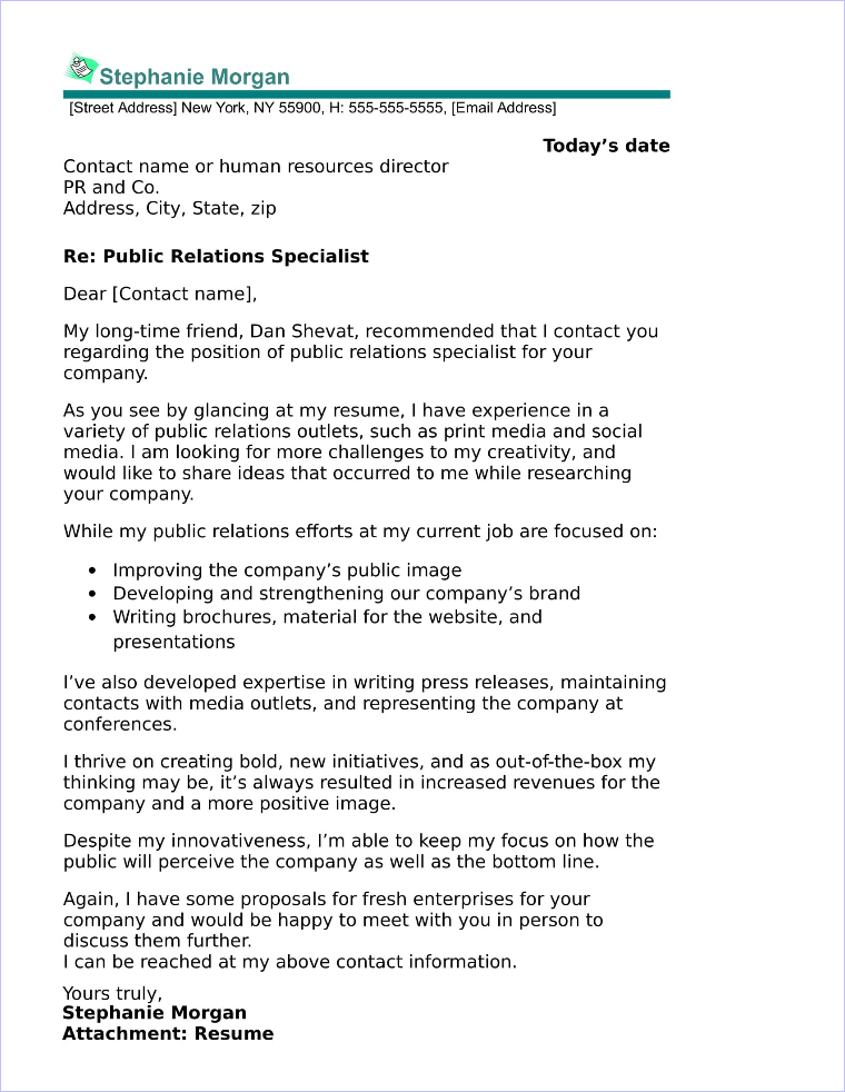 public relations cover letter sample