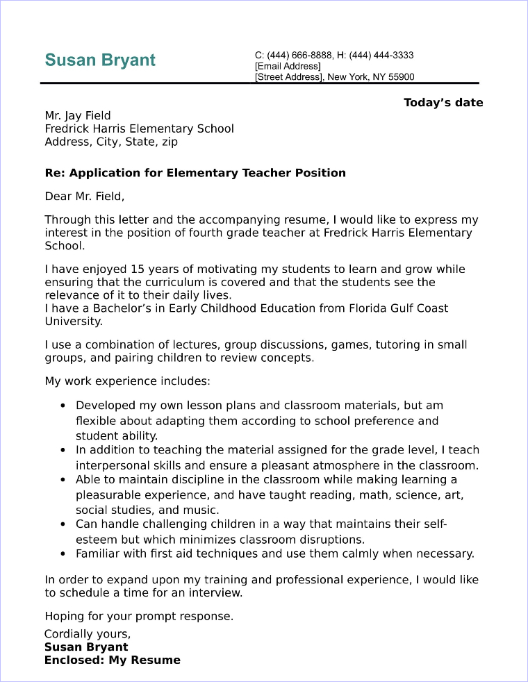 Letter Of Interest Teacher Job from www.job-interview-site.com