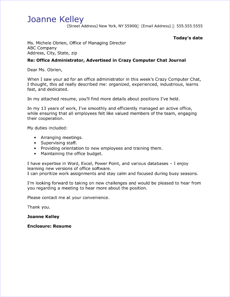adminstration cover letter - office administrator cover letter sample