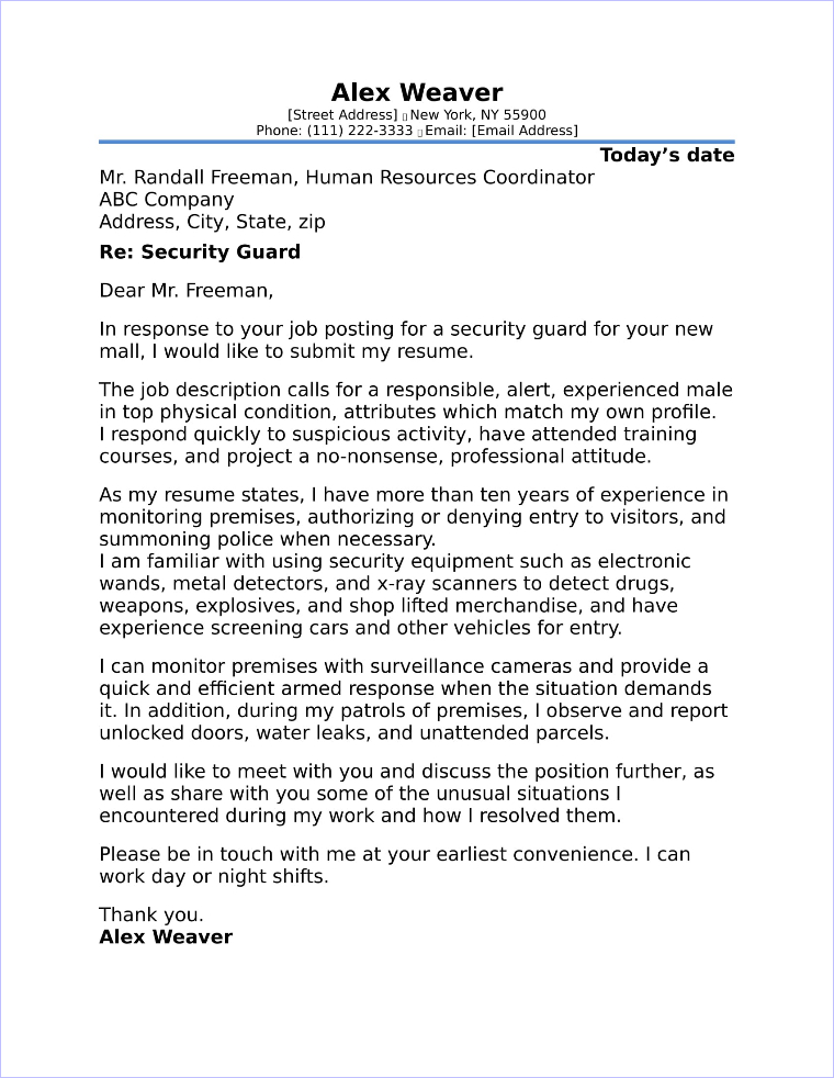 security guard cover letter samples