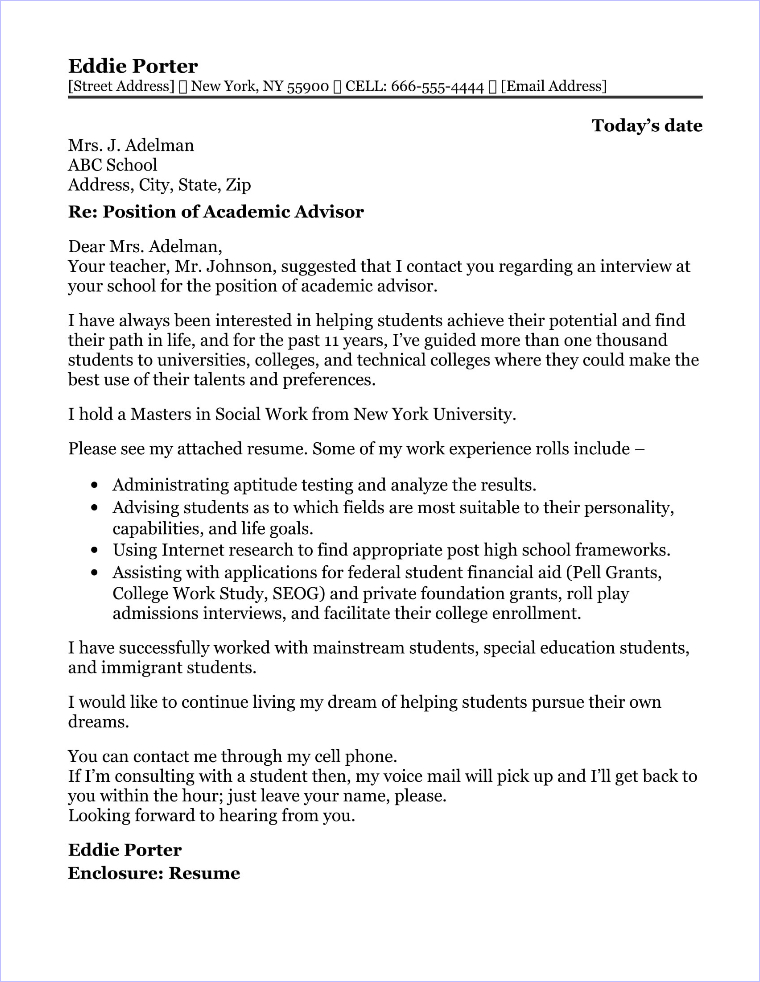 Academic Advisor Cover Letter Sample