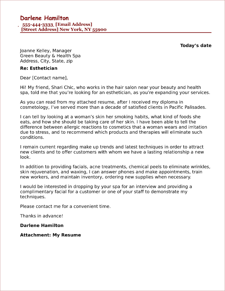 Esthetician cover letter sample for Cover letter for esthetician position