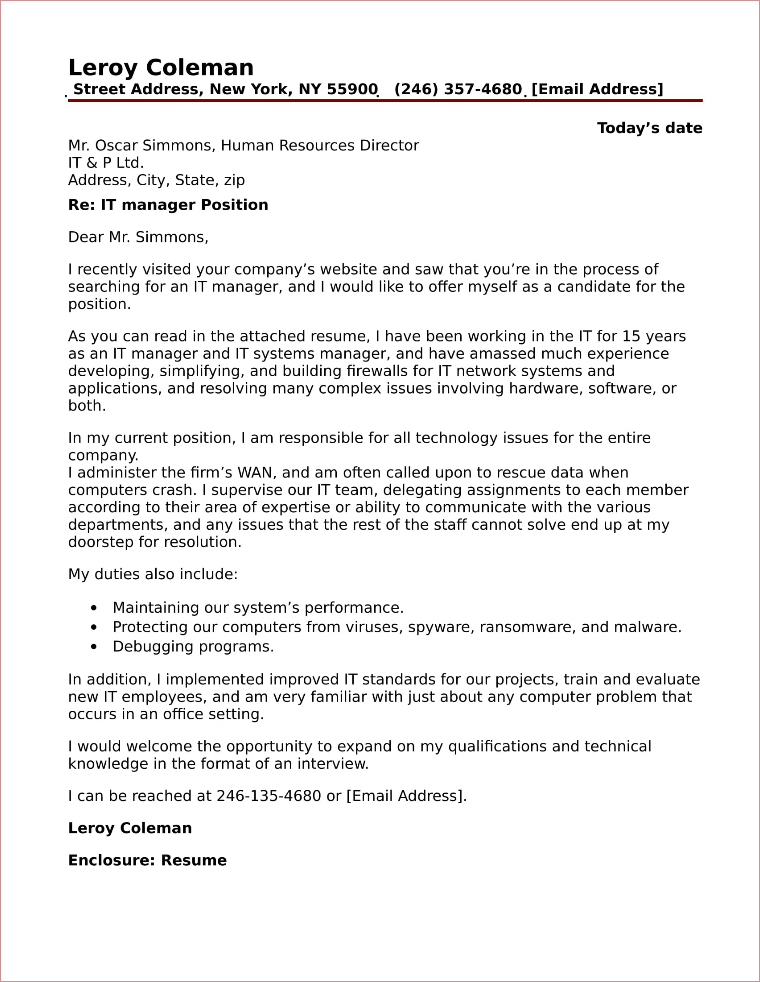 Exceptional IT Manager Cover Letter Sample