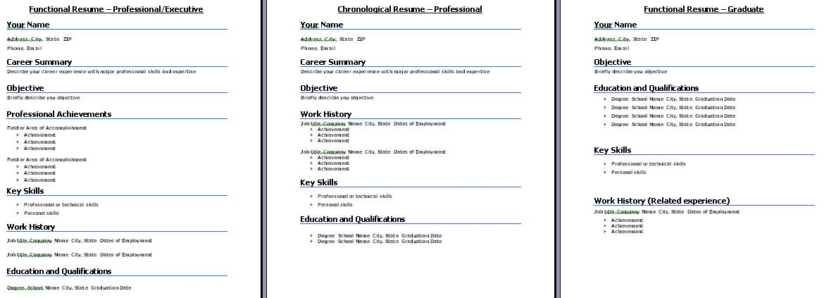 select the resume format