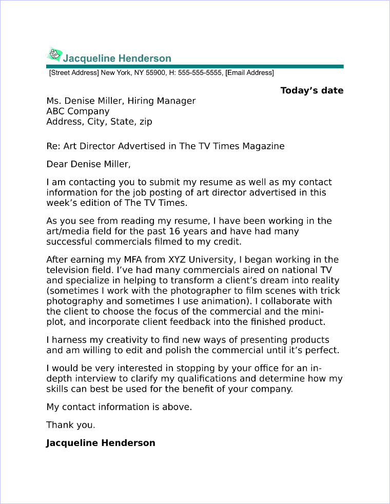 art director cover letter sample