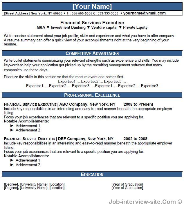 Financial Executive Resume Thumb Financial Executive Resume