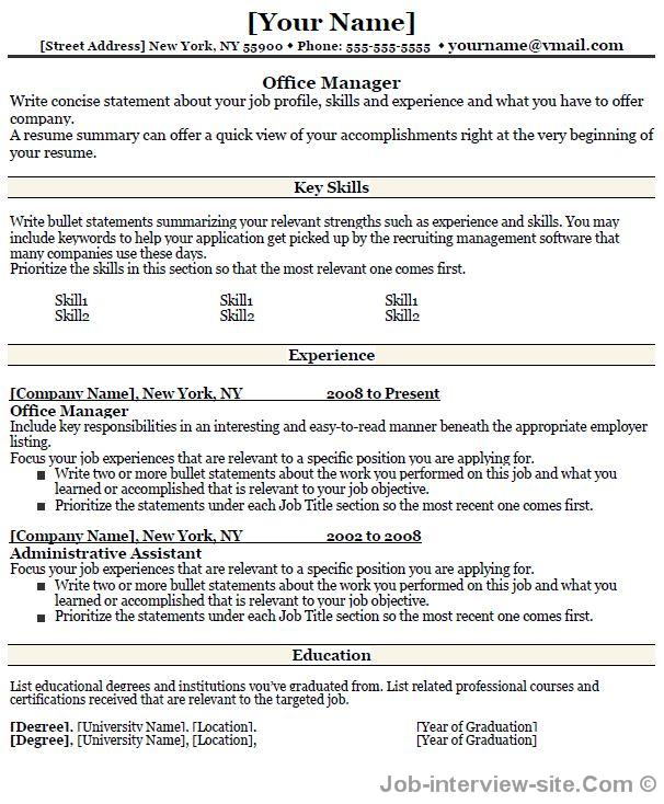 Office Administrative Manager Resume-thumb