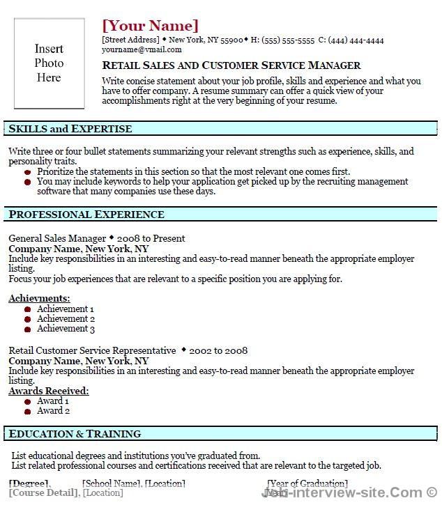 Retail Sales Template for Resume-thumb