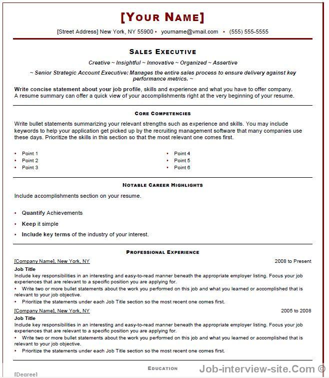 sales template for resume - Interview Resume Sample