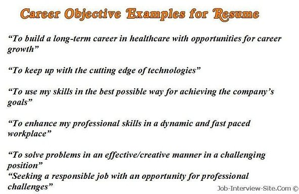 sample career objectives examples for resumes - Objective Of Resume Sample