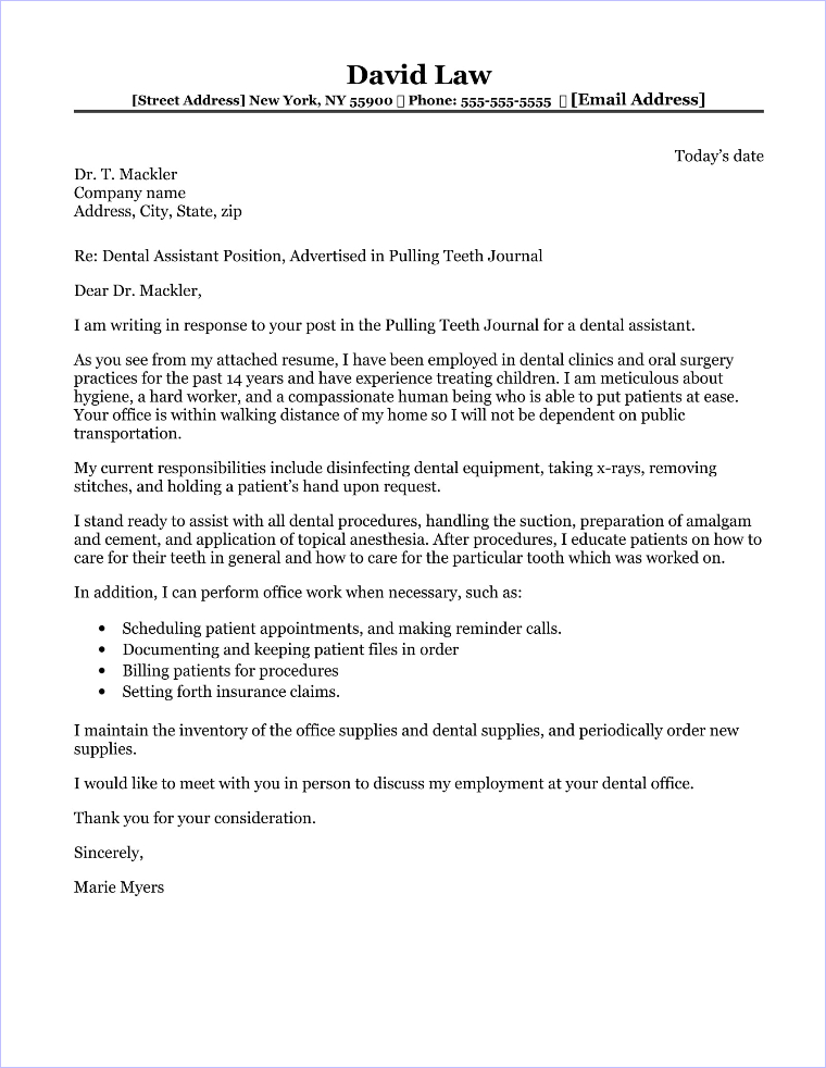Nursing cover letter sample for Dental assisting cover letters