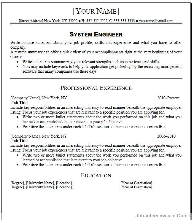 it systems engineer resume - Resume Summary Software Engineer