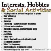 Resume Interests Examples Hobbies And