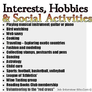 hobbies interests resume