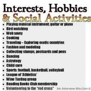 hobbies to list on a resumes