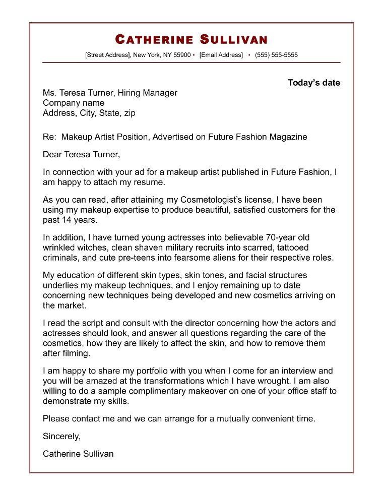 Makeup Artist Cover Letter Sample