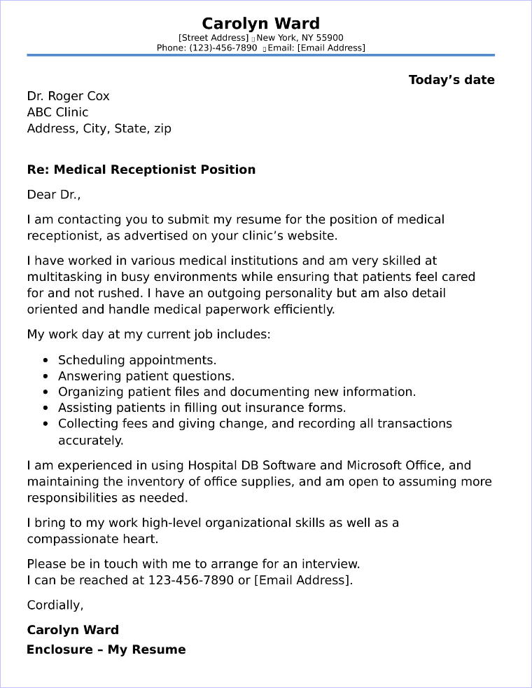 Medical receptionist cover letter sample for Covering letter for receptionist role