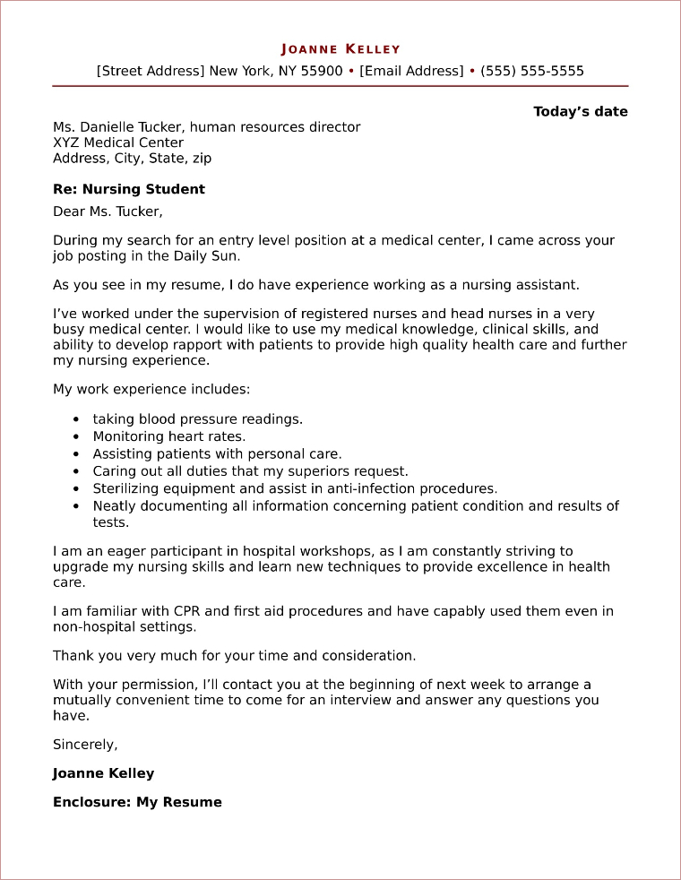 nursing student cover letter sample