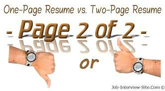One Page Resume Or Two Format What Do The Experts Say
