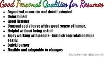 good personal qualities list of personal qualities for resumes - Personal Skills Examples For Resume