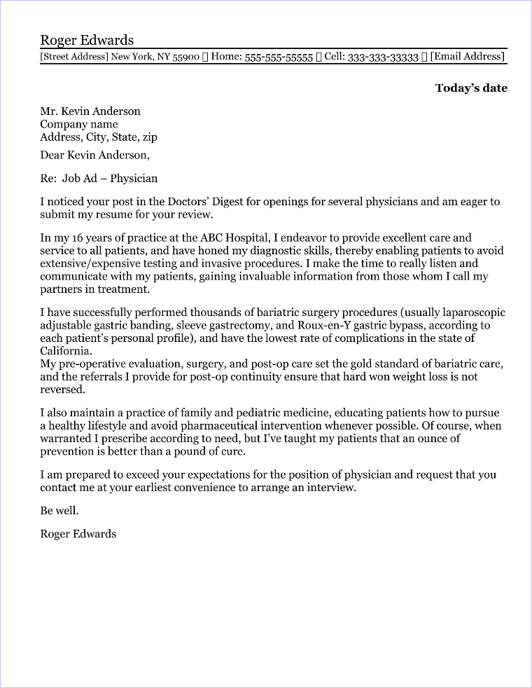 Physical therapist cover letter sample for Cover letter examples for physicians