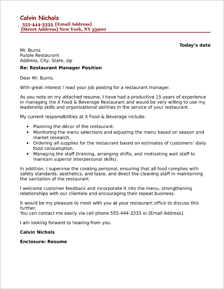 15 Amazing Hospitality and Food Service Cover Letter Examples