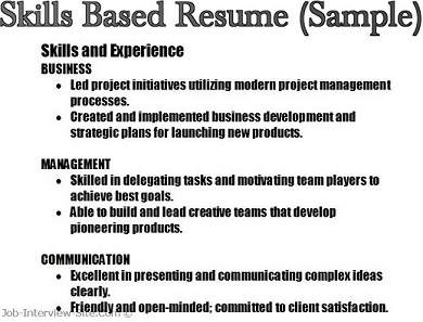 Job Interview U0026 Career Guide  Sample Skills Based Resume