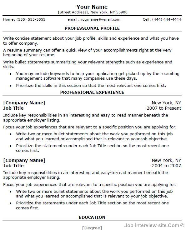 Professional Resume Template Thumb Professional Resume Template  Resume Template For First Job