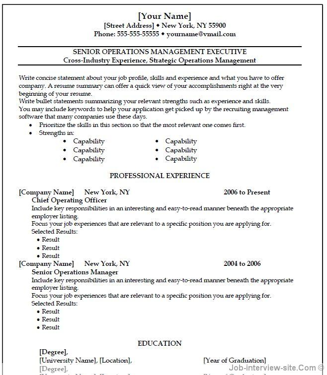 operation manager template thumb operation manager template - Sample Professional Resume Format
