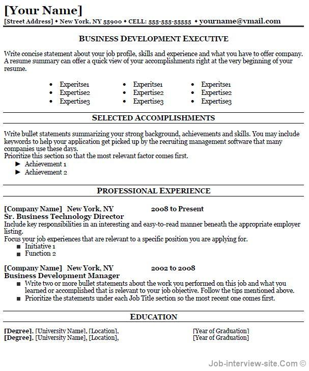 sample resume business development officer
