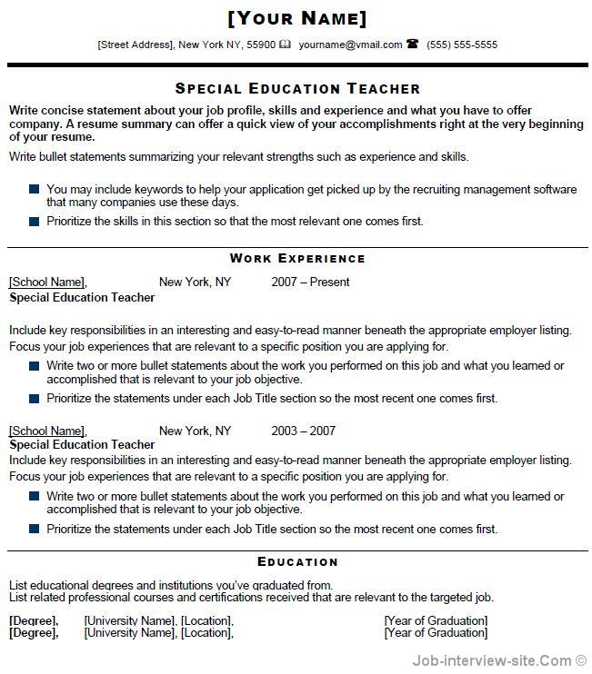 Sped teacher resume