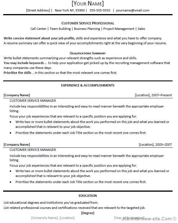 Catchy Resume Titles For Customer Service Resume Goals Ideas