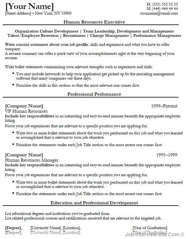 Executive Resume Formats | Resume Format And Resume Maker