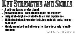 resume strengths examples key strengthsskills in a resume