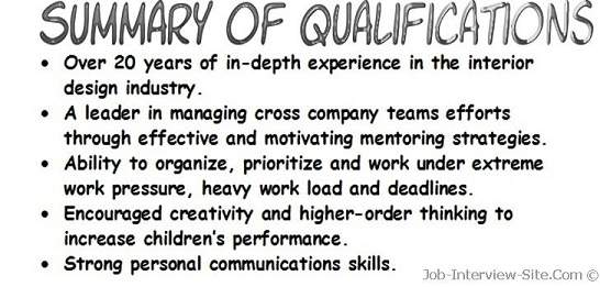resume qualifications examples  resume summary of