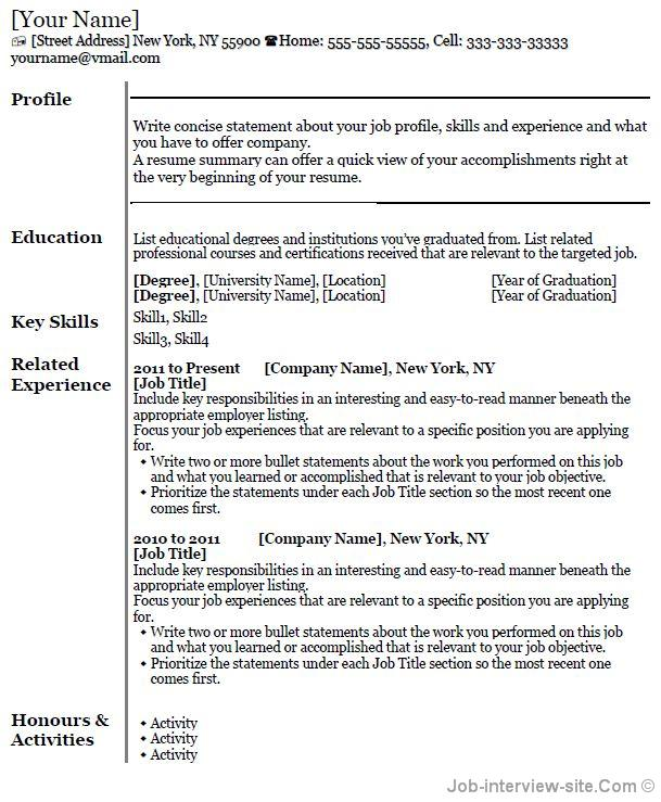 template for job resumes