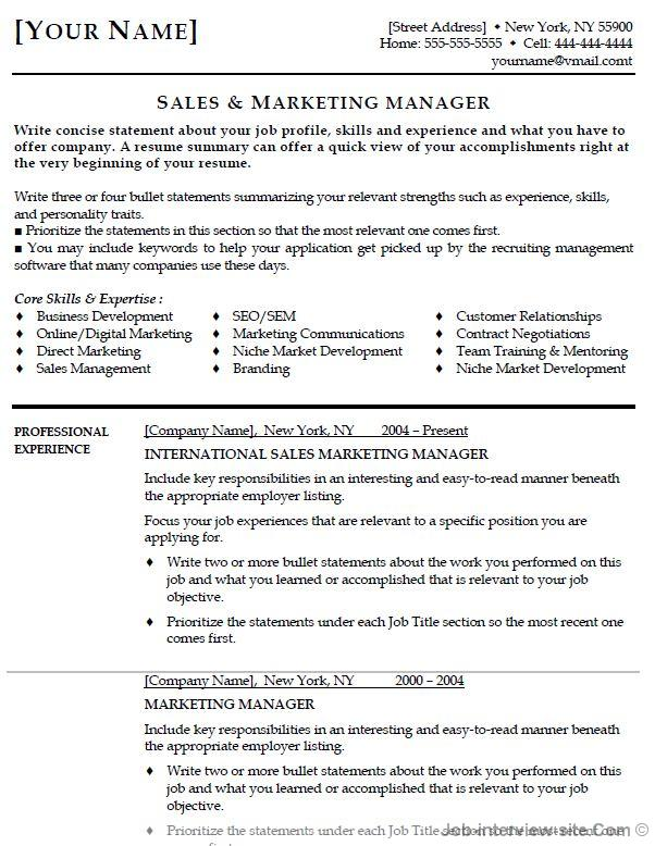 Marketing Manager Resume Thumb Marketing Manager Resume  Entry Level Resume Objectives