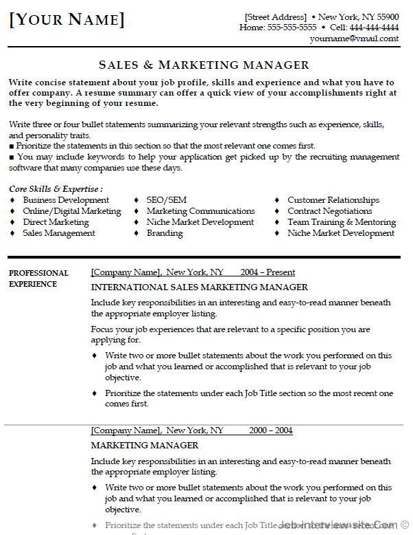 Job Interview U0026 Career Guide  Sales Marketing Resume