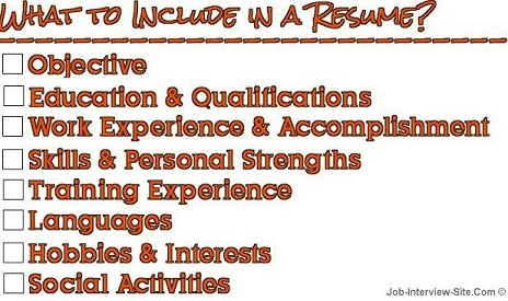 Job Interview U0026 Career Guide  What Should Be Included In Resume